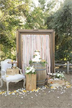 chic rustic wedding cake table ideas