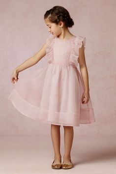 pink ruffles pintucks and organza - flower girl | BHLDN