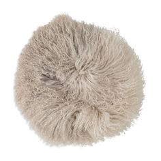 Bloomingville Stone/Off White Tibetan Lamb Fur Pillow, 14""