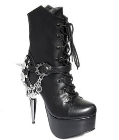 high heeled combat boots | Black high heel hiking combat army mid