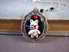 Moogle polymer clay cameo necklace. Final Fantasy by Outpost8, $32.00