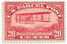 Postage stamp depicting an airplane - Dec 16, 1912 - Issued this date. Oddly, it was a 20-cent parcel post stamp, since a postal air mail system had yet to ...