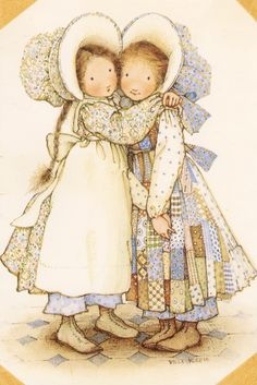 Holly Hobbie and Heather ~ Best Friends Forever. I loved these dolls as a young girl. My whole room was decorated in this until I went to high school. Even then I hated to give it up, but I thought my friends would make fun.
