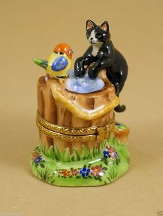 NEW FRENCH LIMOGES BOX CUTE BLACK & WHITE KITTY CAT KITTEN  WITH COLORFUL  ebay.com