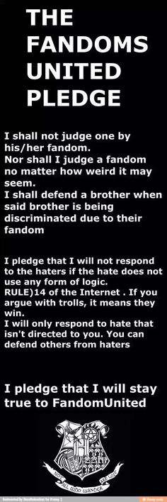 This is the fandoms united promise. Based off that fandom scout thing that girl made up a few months ago.