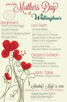 We are partnering up with Wellington's Restaurant to celebrate moms! Wouldn't she love the gift of a new dining experience? Wellington's Restaurant is hosting a delicious Mother's Day meal, so call to reserve your spot! Mothers Day Meals, Carving Station, Spa Specials, Grilled Fruit, Deviled Eggs, Smoked Salmon, Blueberry, Bacon, Restaurant
