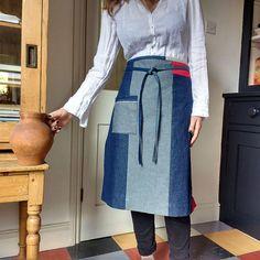 Denim half apron 10 piece 'Boro' apron individual