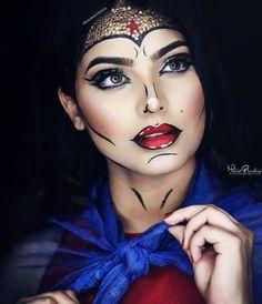 Halloween Look 2017 – Wonder Women Make-up Pop-Art Make-up von … - Makeup Looks Dramatic Maquillaje Halloween, Halloween Makeup, Maquillage Wonder Woman, Comic Book Makeup, Comic Books, Superhero Makeup, Cartoon Makeup, Wonder Woman Makeup, Looks Teen