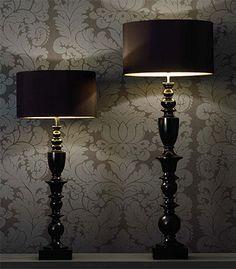 Black floor lamps.