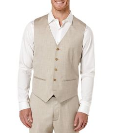 Regular Fit Herringbone Suit Vest, Natural Linen, hi-res Casual Wedding Attire, Wedding Vest, Wedding Suits, Beach Wedding Attire For Men, Mens Attire, Mens Suits, Groom Attire, Groomsmen Vest, Herringbone Suit