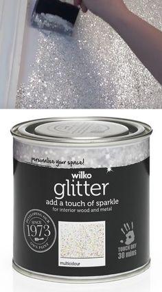 Sparkly Glitter Paint jetzt für £ 9 @ Wilko erhältlich - Dekoration 2019 Freie - New Ideas Decoration Bedroom, Diy Home Decor, Room Decorations, Tinta Glitter, Glitter Bedroom, Glitter Paint Walls, Glitter Accent Wall, Glitter Wall Art, Glitter Floor