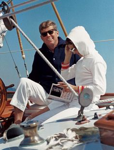 John F. Kennedy and Jacqueline sailing.