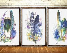 Blue Feather Wall Decor, Blue Flowers Home Decor Set 3, Living Room Blue Flowers Art Print, Wall Art Print, Home Decor, Original Gift