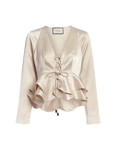 Alexis | Reagan Deep V Ruffled Silk Top | IFCHIC.COM Satin Top, Silk Top, Silk Satin, Look Fashion, Womens Fashion, Fashion Design, Casual Outfits, Cute Outfits, Formal Tops