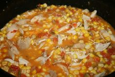 Cajun Chicken Maque Choux - Corn and tomatoes, onion, bell pepper, garlic and jalapenos, make a fabulous popular Deep South dish all on it's own, but add in a little chicken, serve over rice and you have a great main dish stew.
