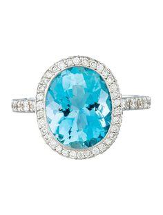 Laura M. 4.25ctw Aquamarine & Diamond Halo Ring