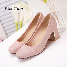 BISI GORO plus size 34-47 elegant women shoes high heel thick heel pumps women purple wedding shoes slip on women prom heels