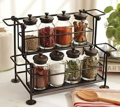 Counter Spice Rack & Jars at Pottery Barn Only $8 - seems like a good deal!