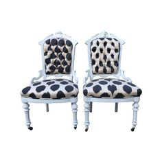 Image of Madeline Weinrib Louis Style Ikat Chairs - A Pair