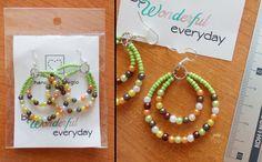 Orecchini perline multicolore verde fatti a mano /bead earrings handmadebygio