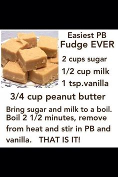 easy peanut butter fudge. I just made a pan of this. This is my favorite recipe because it's quick and easy and dee-licious!!! Cornbread, Fudge, Desserts, Ethnic Recipes, Food, Candies, Tailgate Desserts, Deserts, Eten
