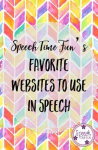 Speech Time Fun's Favorite Websites to use in Speech. Read which ones I use to get texts, games, and interactive activities that can work on TONS of speech and language skills such as articulation, vocabulary, sentence structure, syntax, and so much more!