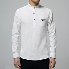Gender: Men Item Type: Shirts Pattern Type: Solid Sleeve Style: Regular Brand Name: -- Style: Casual Closure Type: Single Breasted Fabric Type: Broadcloth Material: Cotton Material: Linen Collar: Mand