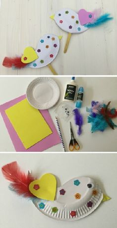 Love Bird Stick puppets that are easy to make using a few feathers, a paper plate and lolly sticks.