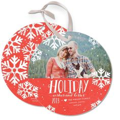 Have some fun with Wishful Kisses Ornament Card by Ann Kelle in a merry and bright coral.