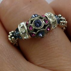 Gemstone Stretch Ring Tanzanite Swarovski Filigree - December Birthstone, Valentine's Day Gemstone. $30.00, via Etsy.