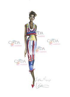 Lupita sketched by @Katie Hrubec Rodgers   Paper Fashion  #CFDAAwards #RedCarpet #CFDASwarovski