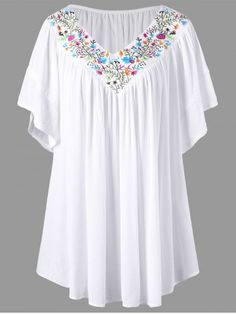 Plus Size Embroidery V Neck Blouse – Women Fashion Men's Casual Fashion Tips, Trendy Fashion, Plus Size Fashion, Womens Fashion, Cheap Fashion, Fashion Site, Ladies Fashion, Curvy Fashion, Fashion Online