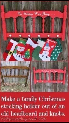 Merry christmas stocking holder stocking hanger wall stocking merry christmas diy christmas stocking holder made from an old headboard solutioingenieria Gallery