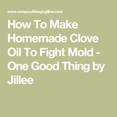 How To Make Homemade Clove Oil To Fight Mold - One Good Thing by Jillee