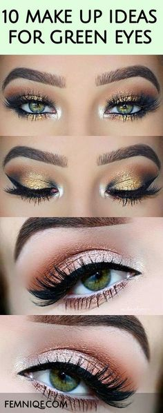 Hier sind 10 schöne Make-up-Looks für grüne Augen. Diese Make-up-Stile bieten … Here are 10 Beautiful Makeup Looks For Green Eyes. These makeup styles features a combination of colors that will amplify the beauty of green eyes. Eye Makeup Tips, Beauty Makeup, Makeup Ideas, Eyeshadow Makeup, Easy Eyeshadow, Metallic Eyeshadow, Makeup Style, Makeup Kit, Makeup Tutorials