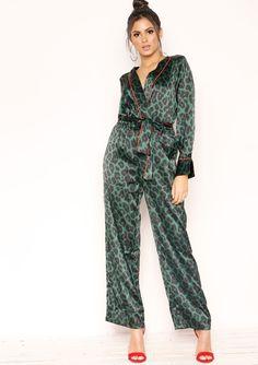 53ffeb4e6f0 Missyempire - Kara Green Leopard Print Pyjama Style Jumpsuit Crown Jewels