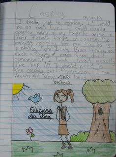 "My 6th grader--Kaela--won a ""Mr. Stick of the Week"" award with this fun page about Cosplay.  Learn more about Mr. Stick at this page at my website: http://corbettharrison.com/Mr_Stick.html"