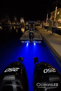 lumitec led rail lights mounted under the gunnels on center blue oceanled s on center console boats