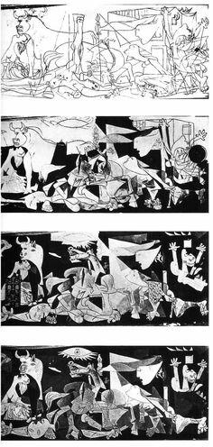 Évolution du tableau. (Photos par Dora Maar, 1937)