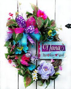 Mother's Day Wreath Nana Wreath Live love spoil Wreath by LeWreath
