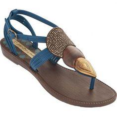 Sandalia Rasteira Feminina Grendha Shakira Khari 16336 - Marrom/Azul/Bronze