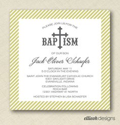 square baptism christening invite PRINTABLE 5x5 by ellieohdesigns, $15.00