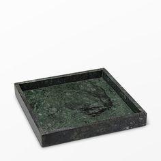 Marmorbricka, 25x25x3 cm, grön