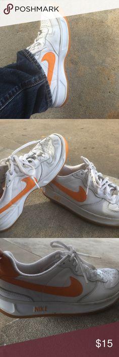 Nike Ace 83' Mens Slightly used hardly worn men's 83' vintage Ace style Nike sneaks.  White with orange swoosh Nike Shoes Athletic Shoes
