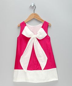 Take a look at this Hot Pink & White Bow Dress - Toddler & Girls by Sweet Charlotte on #zulily today!
