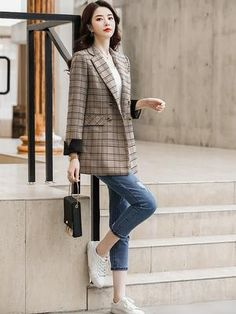 Long Brown Coat, Brown And Grey, Plaid Fashion, Womens Fashion, England Fashion, Double Breasted Jacket, Dress Suits, Jacket Style, Korean Fashion