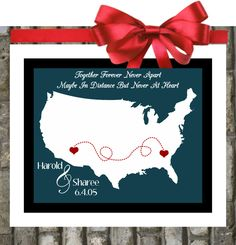 Long Distance Friendship: Quotes Map. Relationship Gift For Best Friend Bff Best Friend Fiance Love Us Travel. $21.99, via Etsy.