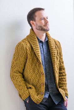 This luxuriously cabled cardigan updates a classic masculine style with a modern slimmer fit in the sleeves. Radmere's trimly tailored shoulders are crowned with an extra-large shawl collar, and the densely cabled fabric in Shelter makes it warm enough to wear as a jacket in soft autumn weather. The intricate stitchwork will show to best advantage in light or bright colors; imagine it in a striking red like Long Johns or a mellow grey like Sweatshirt for very different effects.