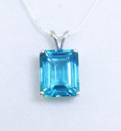 Swiss Blue Topaz Pendant, Birthstone Jewelry, Fine Jewelry, 5 Carat Birthstone Pendant,Gemstone Pendant,Gifts for Her,Sterling Silver Chain by AlsJewelryDesigns on Etsy