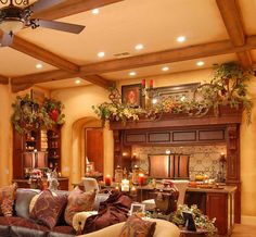 A Tuscan home is warm and inviting and is inspired by the textures and colors found in nature. Color options for Tuscan decor are gold and yellow, dark green and sage, different shades of brown and ochre. Tuscan Living Rooms, Italian Living Room, Living Room Decor, Rustic Italian, Italian Home, Tuscan Home Decorating, Decorating Ideas, Diy Design, Roof Design